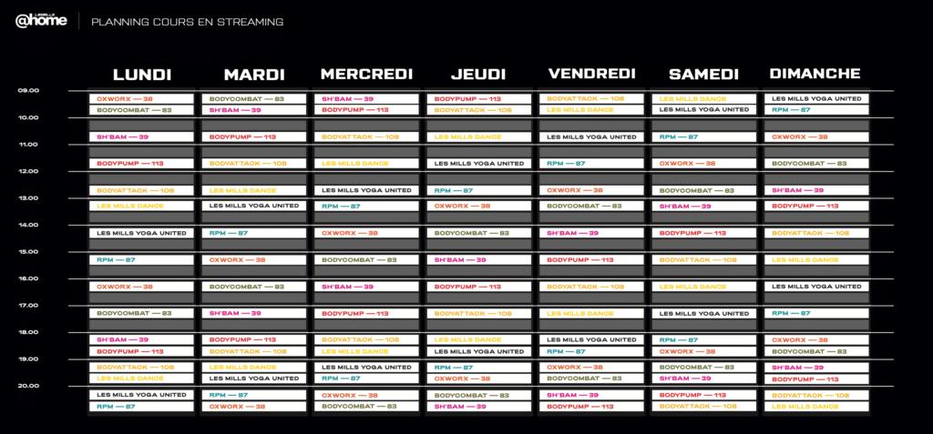 Planning hebdomadaire LesMills @home des cours en livestreaming